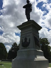 The Confederate monument in Springfield was built in 1901. The main figure is an unknown Confederate soldier. Lower on the base is the likeness of Confederate Major General Sterling Price.