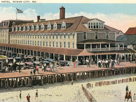The First Atlantic Hotel — Courtesy of The Ocean City Life-Saving Station Museum, collection of George and Suzanne Hurley.