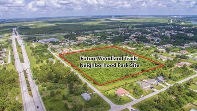 This photo provided by the City of Port St. Lucie shows the location of the future Woodland Trails Park between Southwest Edinburgh Drive and Southwest Calmar Avenue.