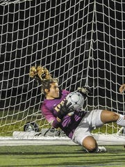 Morris Knolls goalkeeper Madison Somogyi makes another clutch stop during the Morris County Tournament final.