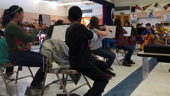 Fifth-graders in the Schuster Elementary School orchestra