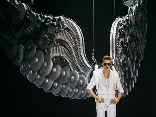 "Justin Bieber performs on stage during the ""I Believe Tour "" in Berlin, Germany."