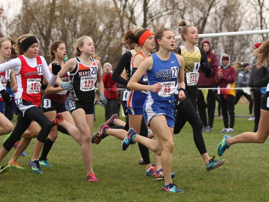 Sartell's Ingrid Buiceag-Arama runs with the pack early in the state class 2A race cross country championships Saturday in Northfield.