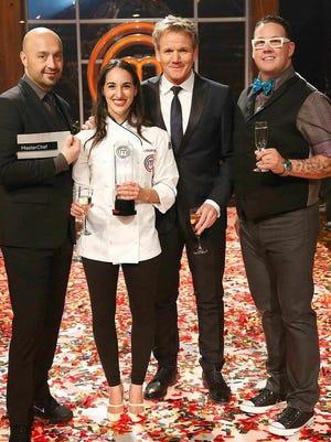 "From left, ""MasterChef"" judge Joe Bastianich, winner Courtney Lapresi, host Gordon Ramsey and judge Graham Elliot."