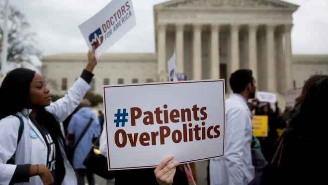 Pro-Obamacare demonstrators at the Supreme Court on March 4.
