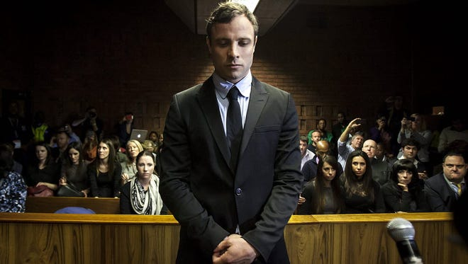 South African Paralympic athlete Oscar Pistorius appears in the Pretoria Magistrates court in 2015.