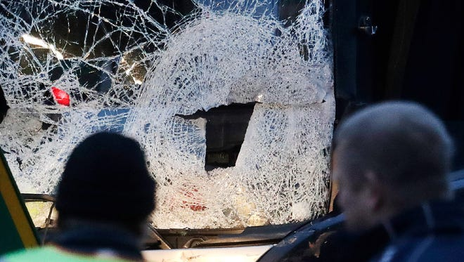 The smashed window of the cabin of a truck that ran into a crowded Christmas market is seen in Berlin on Dec. 20.