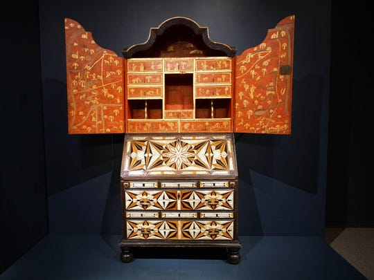 """A global desk made in Mexicio in Winterthur Museums """"Made in the Americas: The New World discovers Asia."""""""
