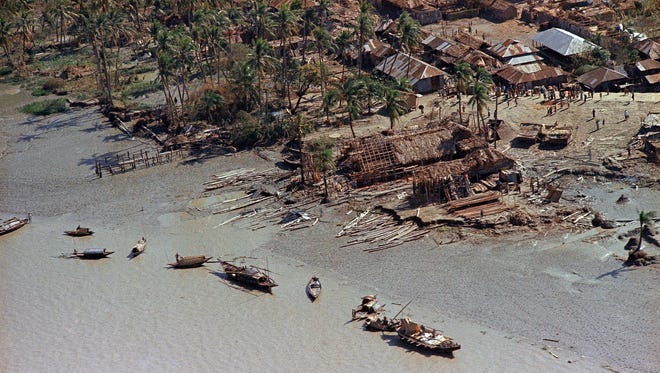 This is an aerial view of devastation in the aftermath of the Bhola cyclone that hit the Bay of Bengal in East Pakistan, Nov. 1970.