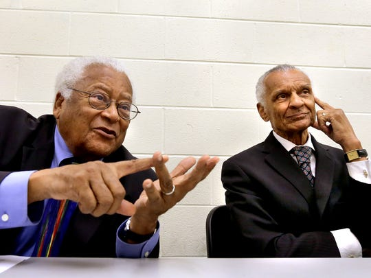 Civil rights leaders the Rev. James Lawson, left, and the Rev. C.T. Vivian speak about civil rights issues both 50 years ago as well as today during an interview Thursday, Sept. 17, 2015.