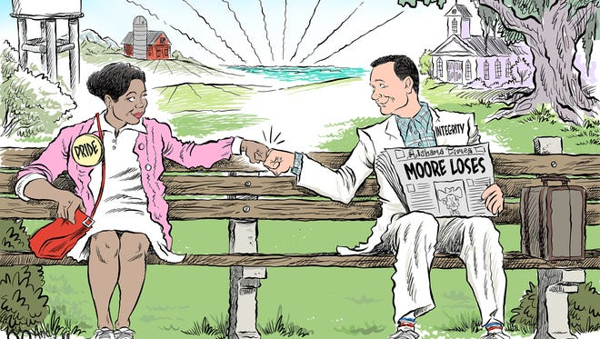Forrest Gump reacts to Roy Moore's defeat.