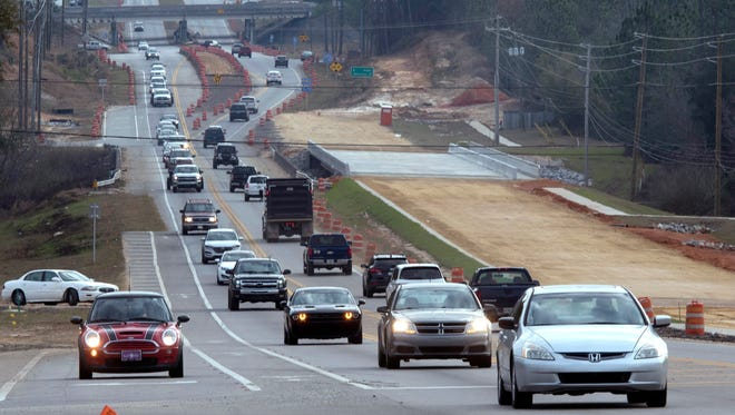 Traffic backs up on Nine Mile Road on Wednesday, Jan. 3, 2018, near Navy Federal Credit Union.