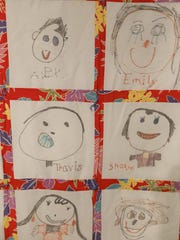 "This ""self-portrait"" quilt features images drawn by students in a kindergarten class at Apache Elementary School in Farmington during the 1998-99 school year."