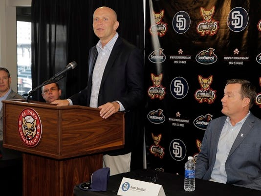 San Diego Padres President and CEO Mike Dee addresses the media during a joint press conference about a Spring Training exhibition game between the San Diego Padres and the El Paso Chihuahuas on Thursday, March 31, 2016 at Southwest University Park.