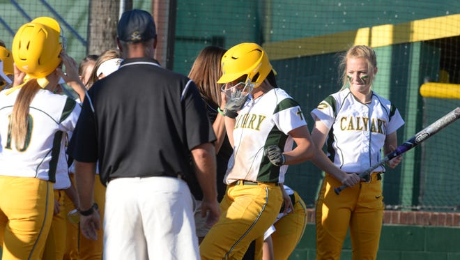 Calvary's Jordan Fielder crosses home after hitting a home run during her game against Byrd Friday evening.