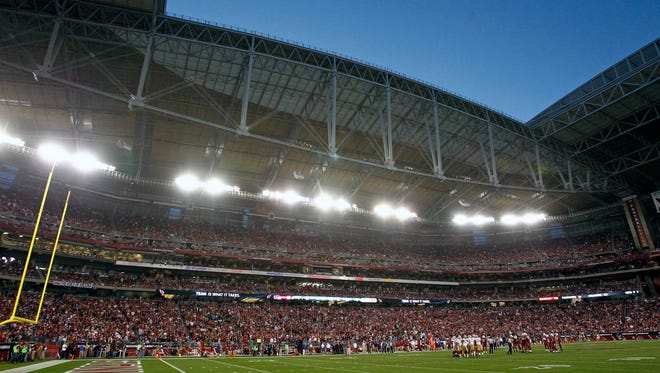 A view of the University of Phoenix Stadium during the game the Arizona Cardinals and the an Francisco 49ers on Dec. 29,, 2013, in Glendale.