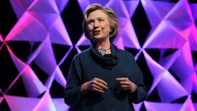 Former Secretary of State Hillary Clinton delivers remarks at the Institute of Scrap Recycling Industries conference in Las Vegas.