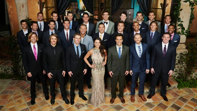 "Andi Dorfman and the 25 men who will woo her on the premiere night of ""The Bachelorette,"" airing May 19 on ABC. Back row: Craig, Nick V., Carl, Josh M. JJ, Bradley, Brett Marcus, Dylan; Middle row: Eric, Emil, Andrew, Patrick, Cody, Tasos, Chris, Ron Mike, Marquel; Front row: Jason, Steven,  Josh B., Andi, Rudie, Nick S. and Brian."