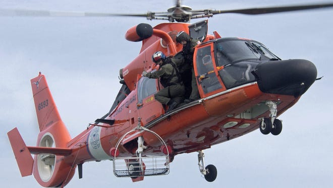 A U.S. Coast Guard helicopter during rescue exercises.