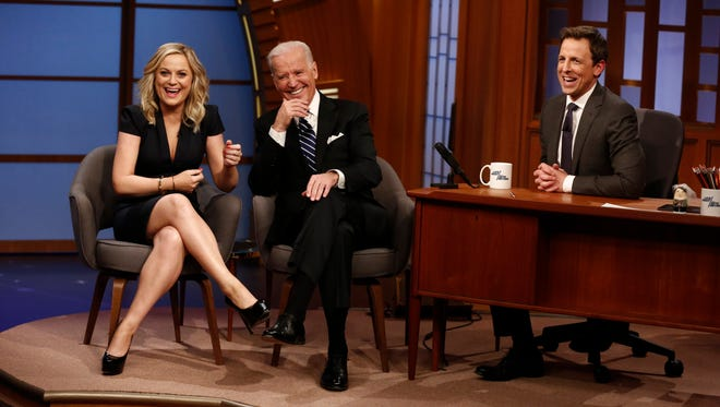 "Actress Amy Poehler and Vice President Joe Biden during an interview with ""Late Night"" host Seth Meyers."