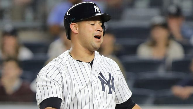With the tying run at first Gary Sanchez struck out ending the eighth inning for the Yankees and they ended up losing to the Mets, 7-5, on Friday, July 20, 2018 at Yankee Stadium.