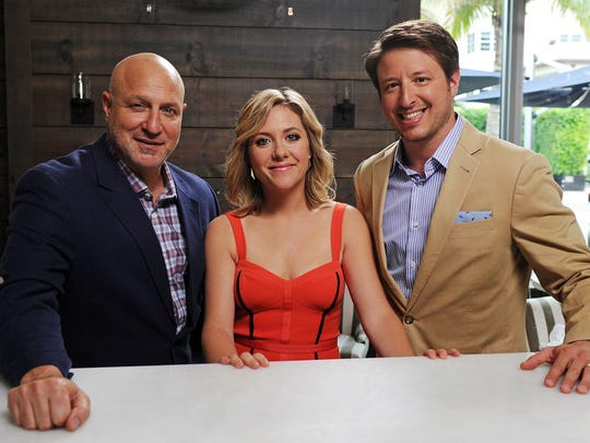 """Chef and restaurateur Jeffrey Zurkofsky, right, pictured with fellow """"Best New Restaurant"""" judges Tom Colicchio, left, and Maggie Nemser, will oversee the menu for an Oct. 28 dinner benefiting the sustainable agriculture program at Besant Hill School in Upper Ojai."""