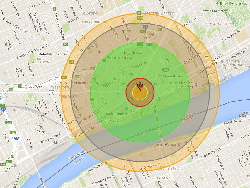 What would it look like if the Hiroshima bomb hit Detroit