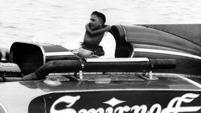 Chuck Thompson sits in the Miss Smirnoff unlimited hydroplane before the race in which he was killed on July 3, 1966. Thompson's boat disintegrated in Heat 3 of the ABPA Gold Cup race on the Detroit River.
