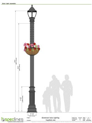 This solar-powered street light was designed by Spec-lines specifically for the town of Topsfield. One light will be installed in the downtown area as a pilot.