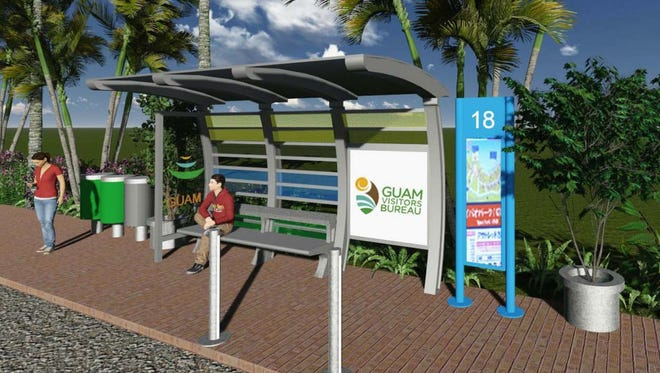An artist's rendering of one of the new bus shelters.