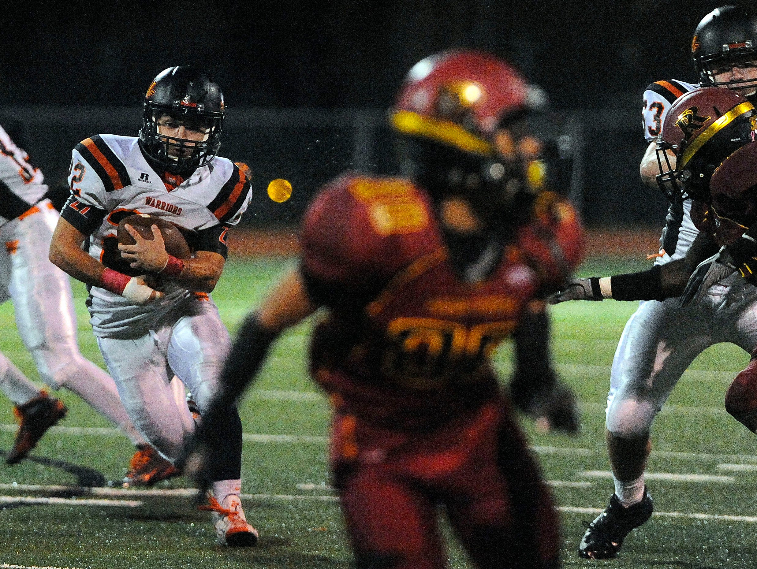 Washington's #22 Chayden drives down the field against Roosevelt during football action at Howard Wood Field in Sioux Falls, S.D., Thursday, Oct. 22, 2015.