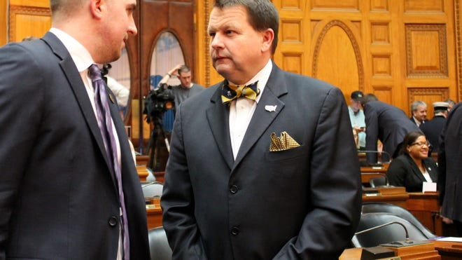 State Rep. Shawn Dooley, R-Norfolk, at right, is challenging Gov. Charlie Baker's authority to issue COVID-19 executive orders.
