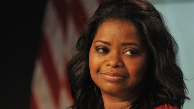 """Oscar winner Octavia Spencer at the press conference for the upcoming film """"Hidden Figures."""""""