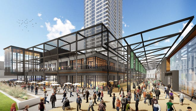 The Milwaukee Bucks have reduced the size of a key building in the entertainment complex just east of the new arena.