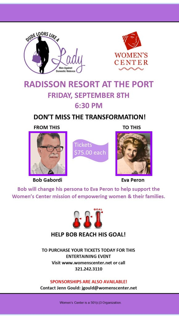 FLORIDA TODAY executive editor Bob Gabordi will make an appearance as Eva Peron at the annual Dude Looks Like a Lady charity gala in Cape Canaveral.