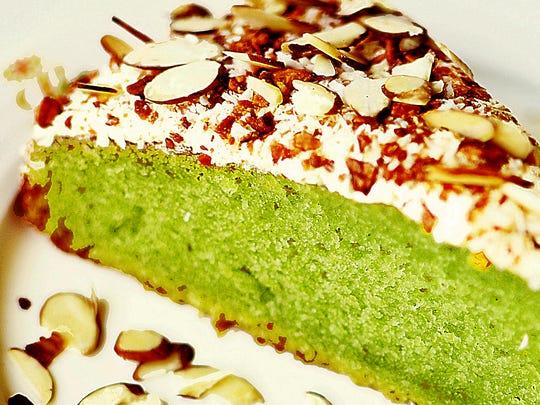 The vegan pandan cake at Loving Hut.