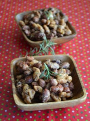 Sweet & Salt Rosemary Nuts have an assortment of nuts tossed in brown sugar, honey, and rosemary. They are finished with sea salt and have a nice sweet and salty contrast.