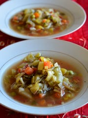 This vegetable soup is healthy and delicious. It is