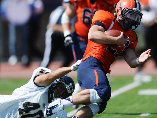 Gettysburg College's Kyle Wigley, right, earned Centennial Conference player of the week honors after a career day against McDaniel.