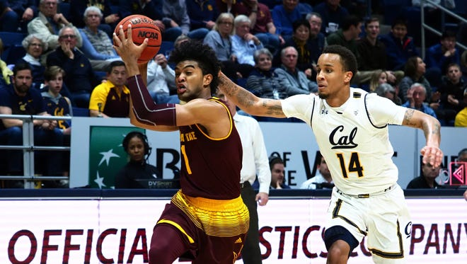 Jan 20, 2018: Arizona State Sun Devils guard Remy Martin (1) drives in ahead of California Golden Bears guard Don Coleman (14) during the second half at Haas Pavilion.
