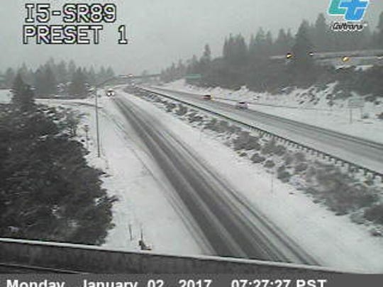 Interstate 5 between Dunsmuir and Mount Shasta this morning.