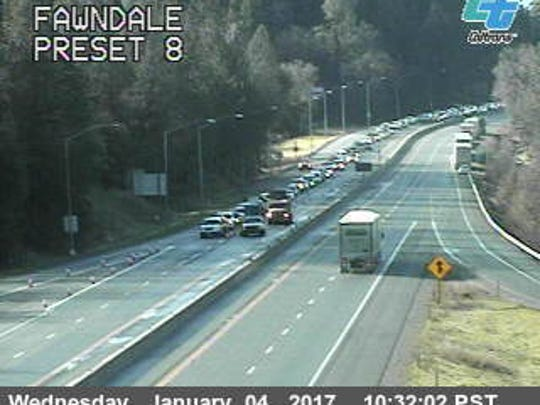 A Caltrans traffic camera shows conditions on Interstate 5 at Fawndale Road on Wednesday morning.