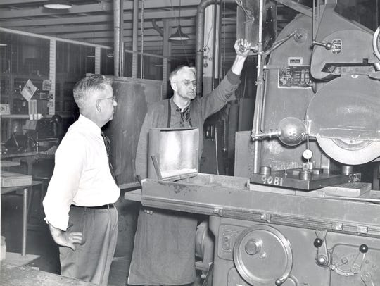 An undated photo inside Elmira's Remington Rand plant.