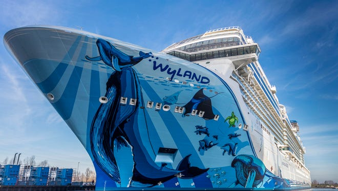 Norwegian Cruise Line's soon-to-debut Norwegian Bliss, one of the world's biggest cruise ships, was floated out from a building dock at the Meyer Werft shipyard in Papenburg, Germany on Feb. 17, 2018.