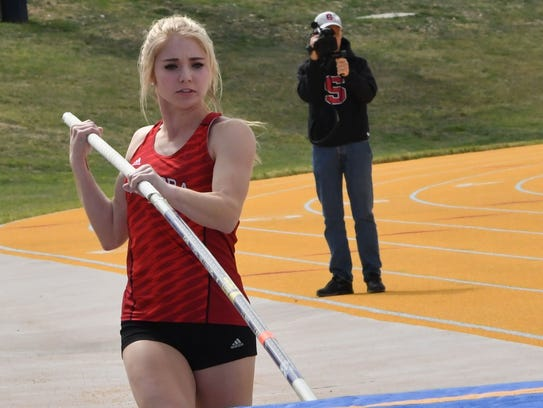 Sonora High School's Lane Cahill took third place in the girls pole vault at the Region I-3A Track and Field Meet on Friday, April 27, 2018.
