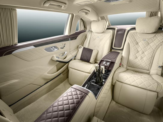 A look at the rear passenger compartment of the Mercedes