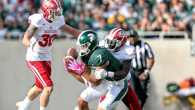 Michigan State receiver Cody White makes a catch against Indiana defensive back Tyler Green (3) during the first quarter at Spartan Stadium on Oct. 21, 2017.