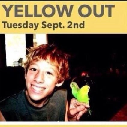 """The online """"flyer"""" calling for supporters to wear yellow in support of a 16-year-old battling a rare cancer."""
