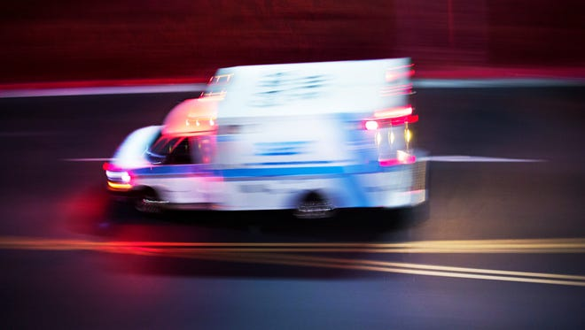"A file photo of an ambulance speeding along a street. Douglas County sheriff's deputies say a man was killed after he ""accidentally"" fell from the upper levels of a parking garage at Harveys casino in Stateline."