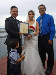 "Bascon- Dungca wedding: Jude Christopher Mafnas Bascon and Rachel Quenga Dungca said, ""I do,"" at Two Lovers Point on Oct. 10. The ceremony was officiated by Sen. Joe S. San Agustin."